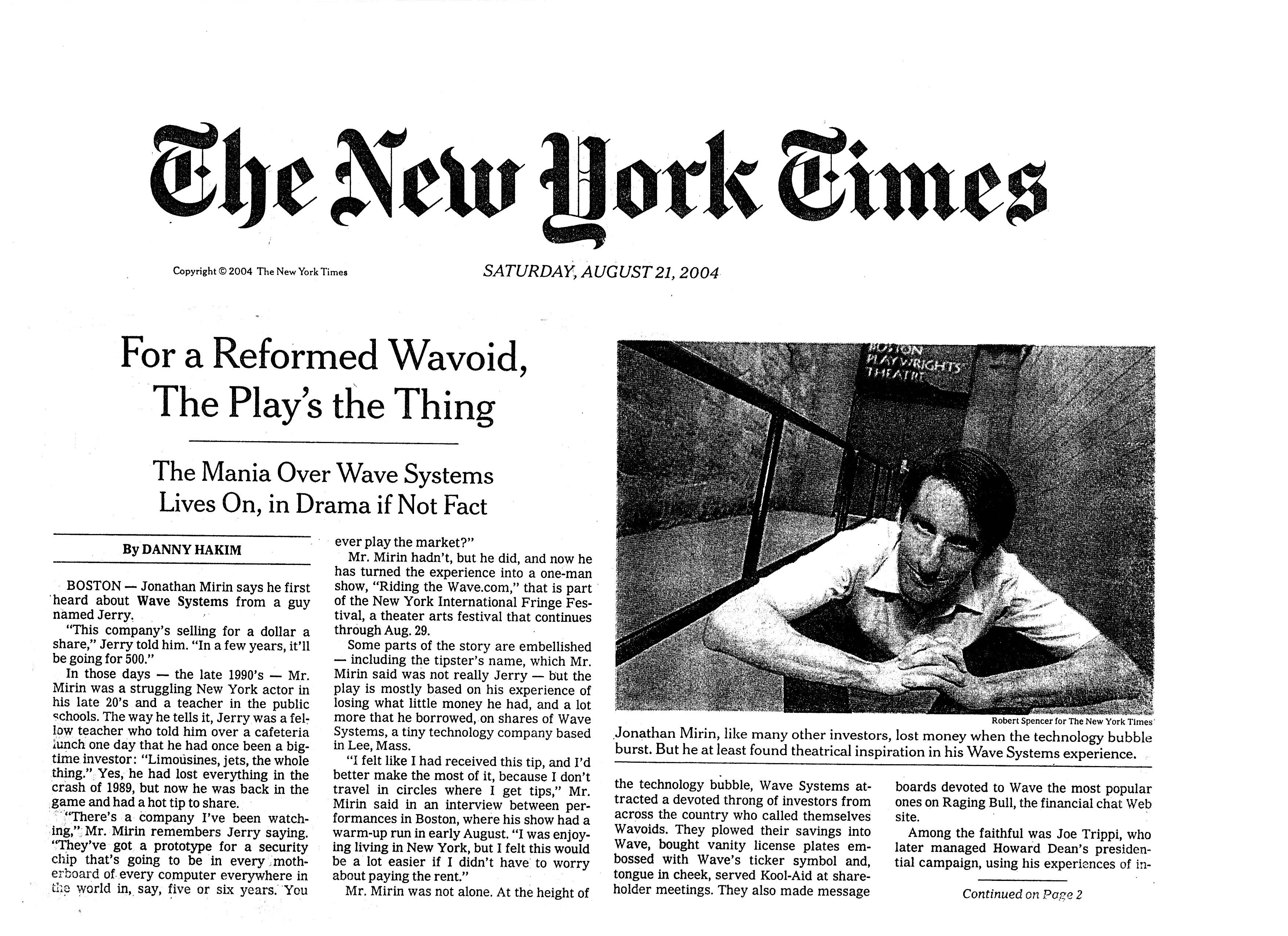 Riding the Wave in the NYT.8.04