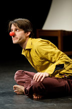 (ALLSTON, MA  2/6/10) Writer and actor Jonathan Mirin performs his solo show about life with Crons Disease at the Boston Playwrights' Theater. PHOTO BY BEAR CIERI