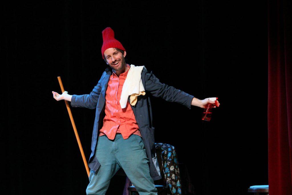 Jonathan Mirin as Sammy with broom