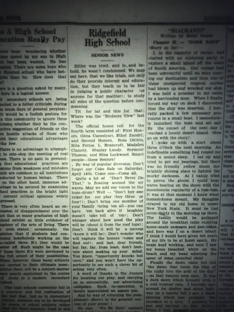 clipping from Ridgefield newspaper