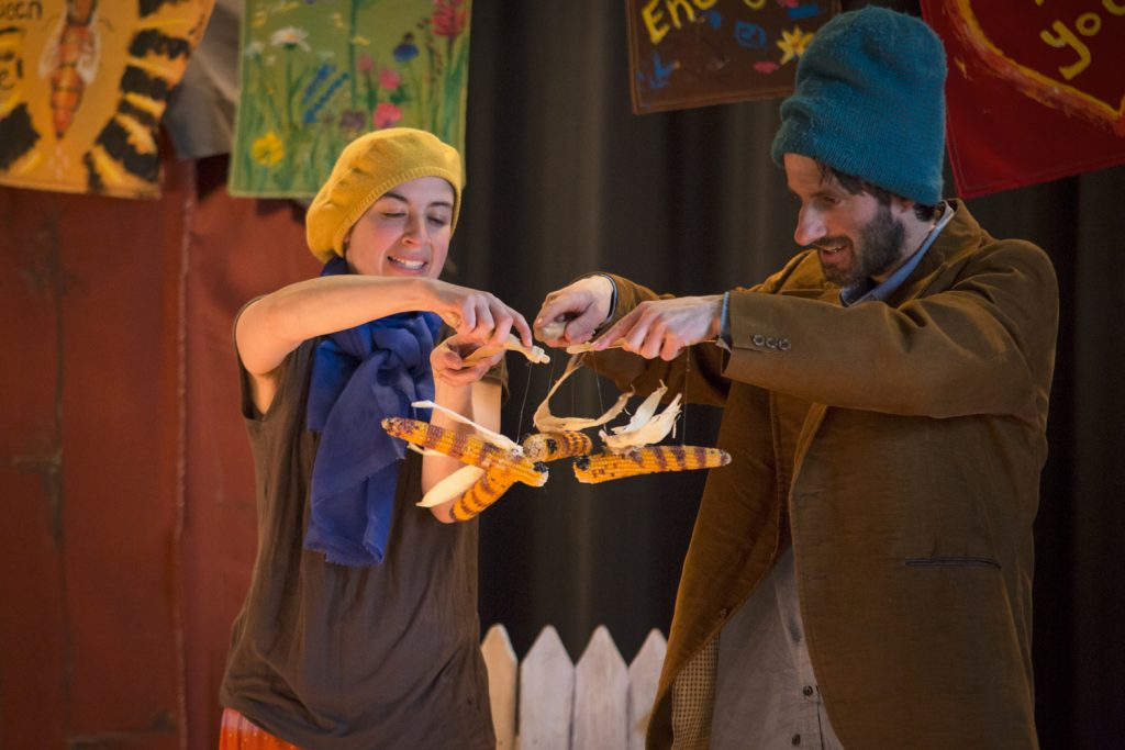 jonathan mirin and laura josephs in to bee with corn bee puppets. tobee.isaac harrell photo